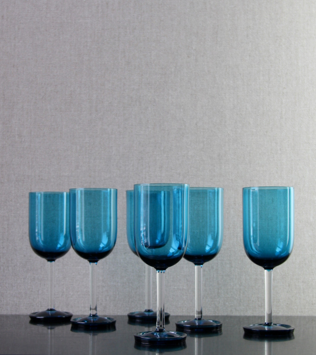 "Turquoise ""Harlekiini: Vinejug"" & 6 Glasses [Model 1744] <br> Nanny Still, 1958"