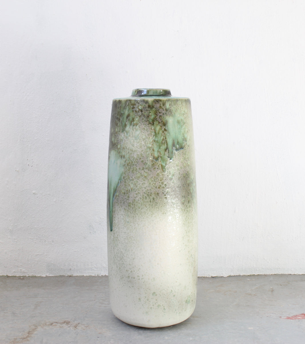Giant Snub Nose Bottle Floor Vase <br> Green Glaze