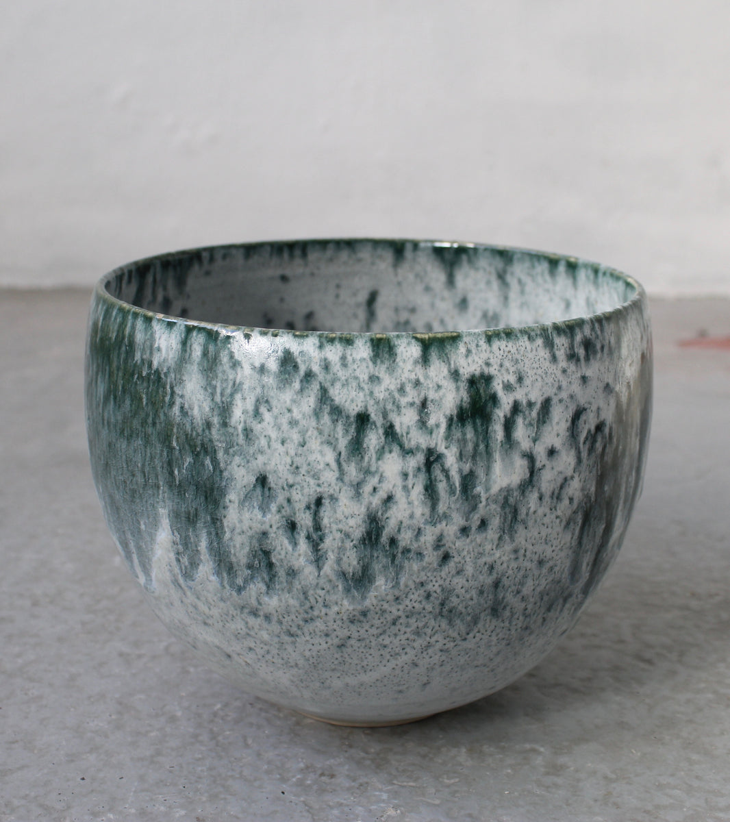 '#15' Short Bell Shaped Planter <br> Teal & White Glaze