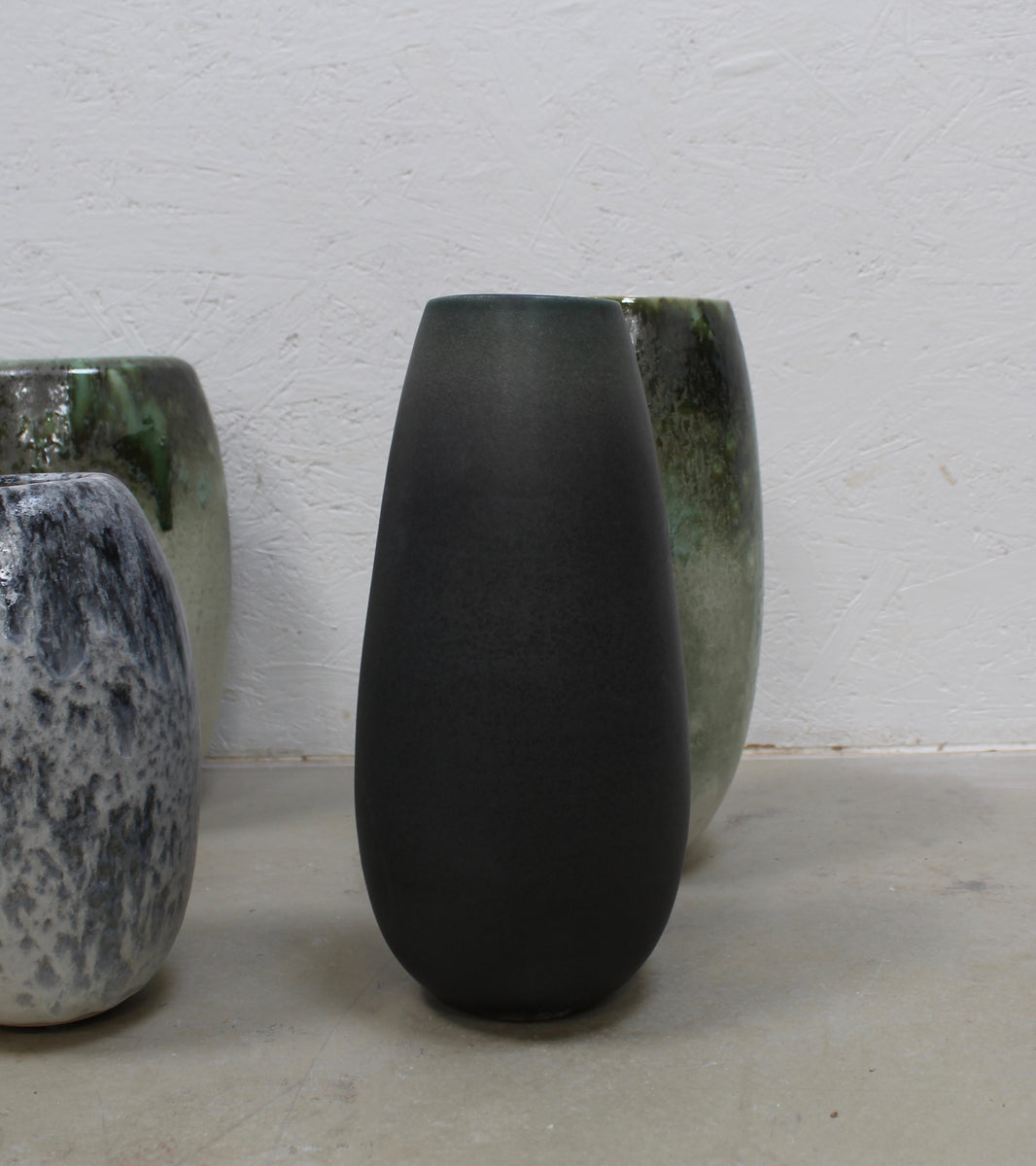 '#27' Slender Teardrop Shape Vase <br> Green to Grey Dégradé Glaze