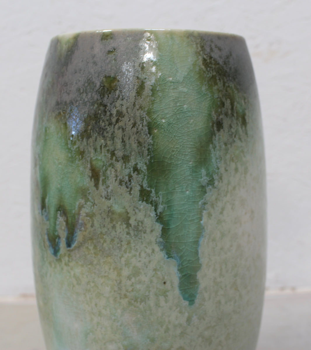 '#28' Tall Ovoid Vase with Wide Mouth <br> Green Glaze