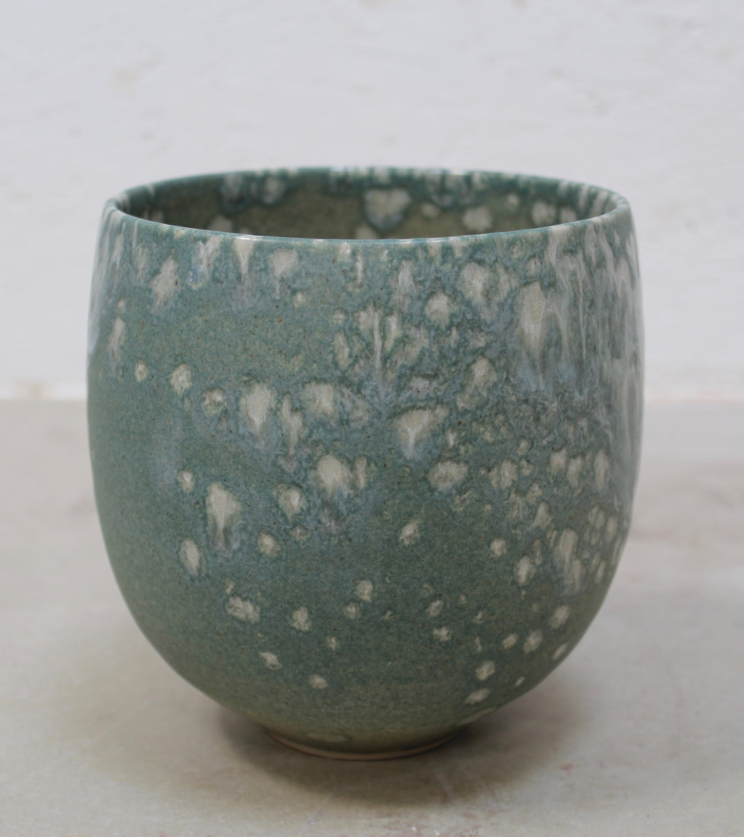 '#31' Small Eastern Bell Shaped Pot <br> White & Teal Glaze
