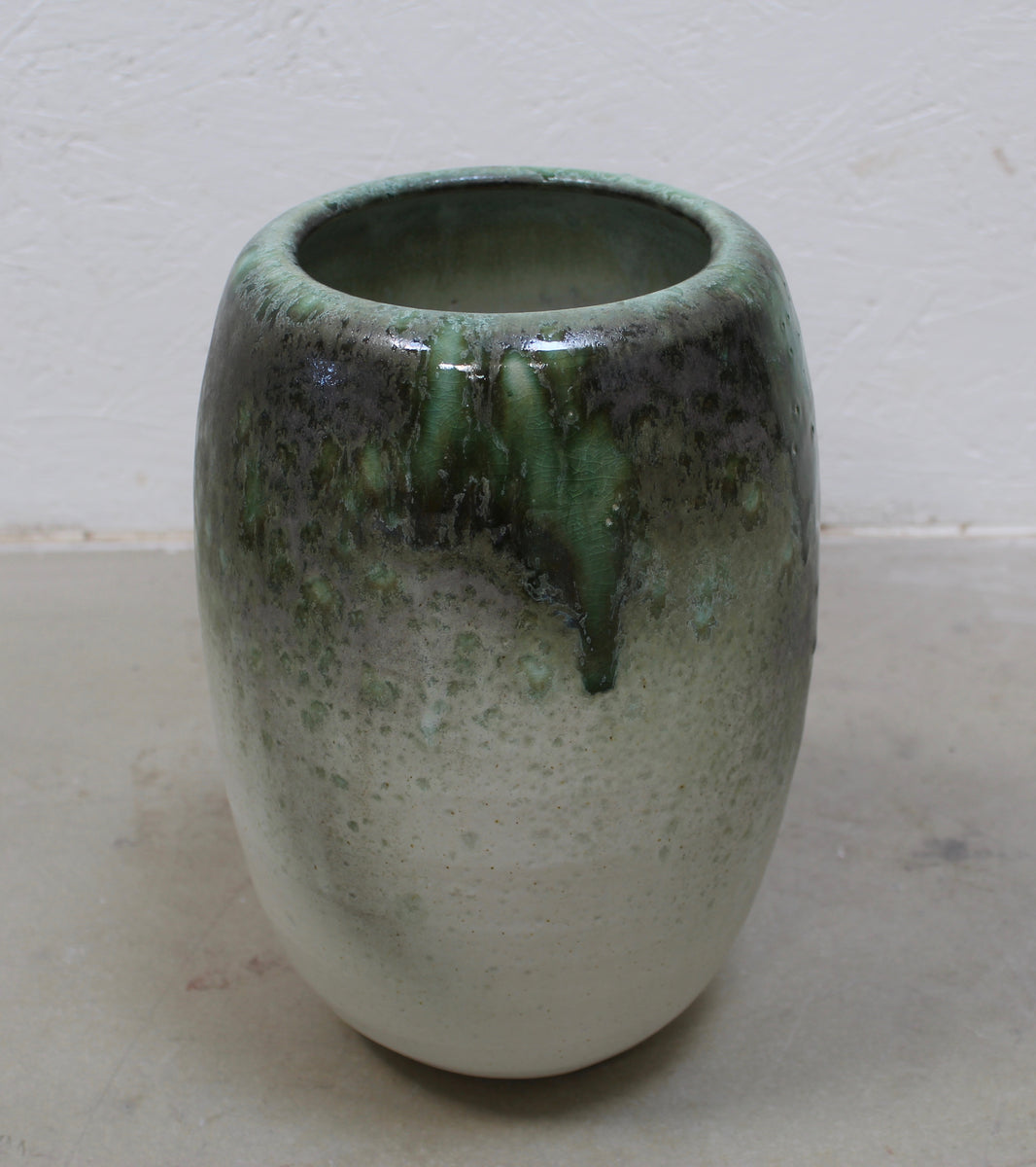'#32' Tall Ovoid Vase <br> Green Glaze
