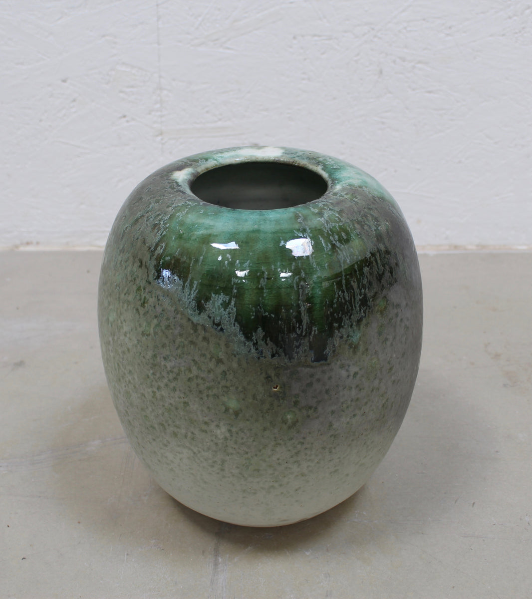 '#36' Medium Ovoid Vase <br> Green Glaze