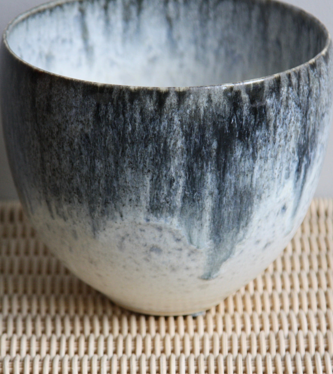 One Off Plant Pot Vase <br>in Blue & White Glaze  <br> by KH Würtz