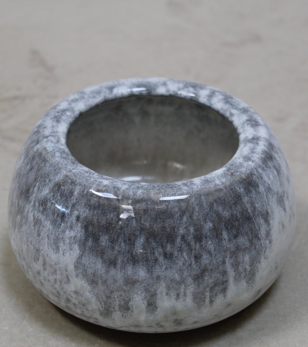 '#46' Urchin Shaped Pot <br> Silver Glaze