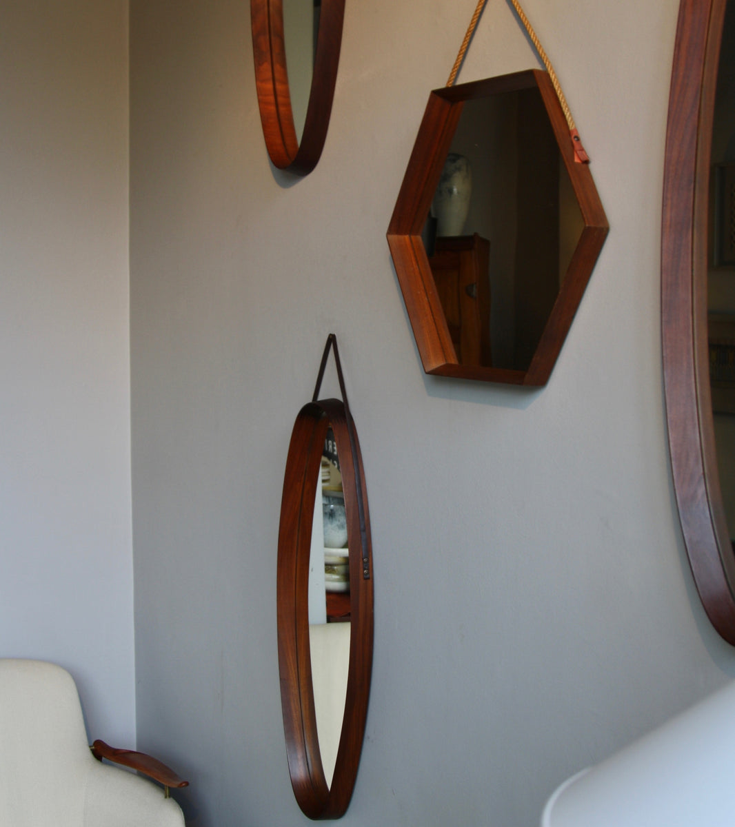 Solid Teak Oval Mirror with Leather Strap Denmark C. 1950