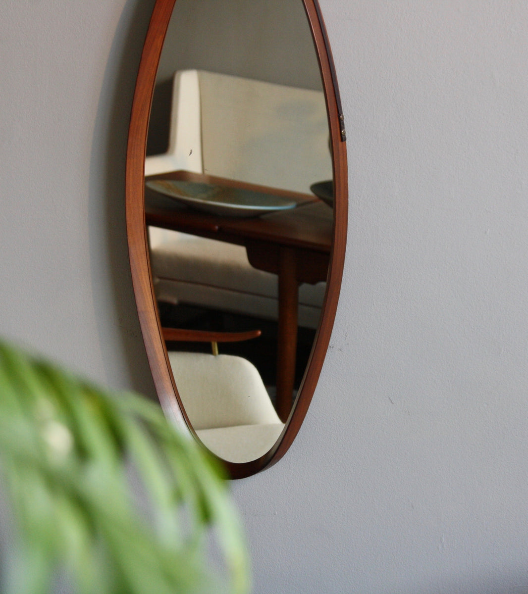 Vintage Teak Oval Mirror with Leather Strap Denmark C. 1950