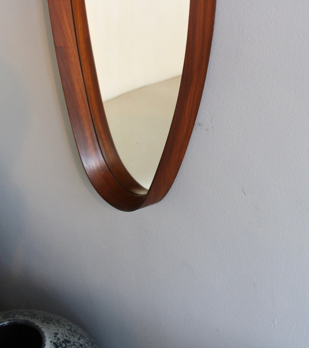 Excellent Condition Teak Oval Mirror with Leather Strap Denmark C. 1950