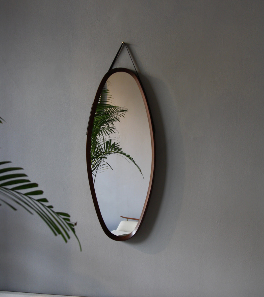 Teak Oval Mirror with Leather Strap Denmark C. 1950