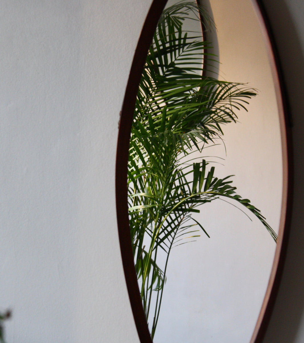 Hand Crafted Teak Oval Mirror with Leather Strap Denmark C. 1950