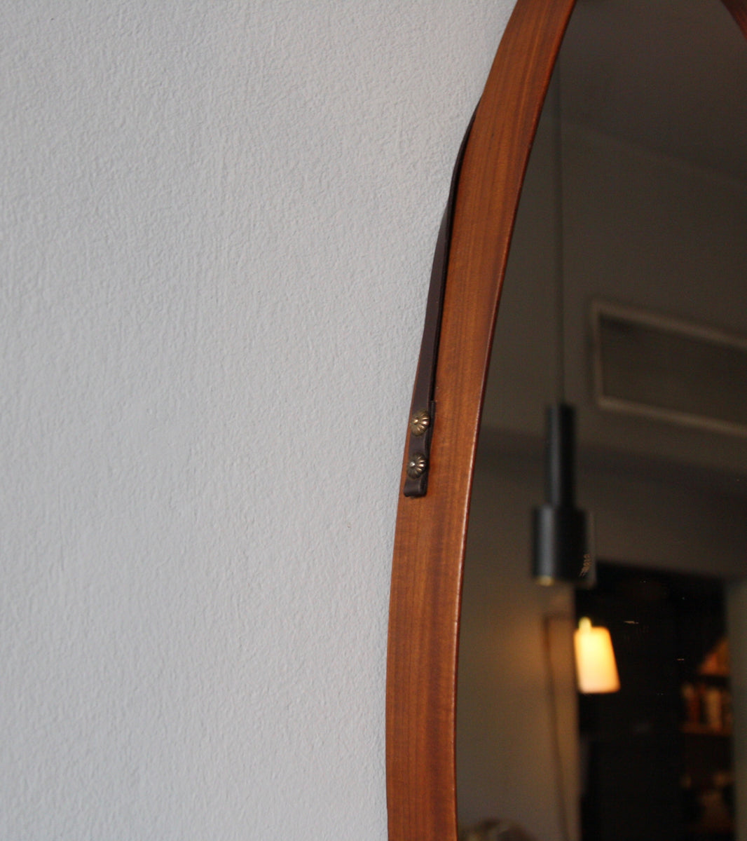 Teak Mid 20th Century Oval Mirror with Leather Strap Denmark