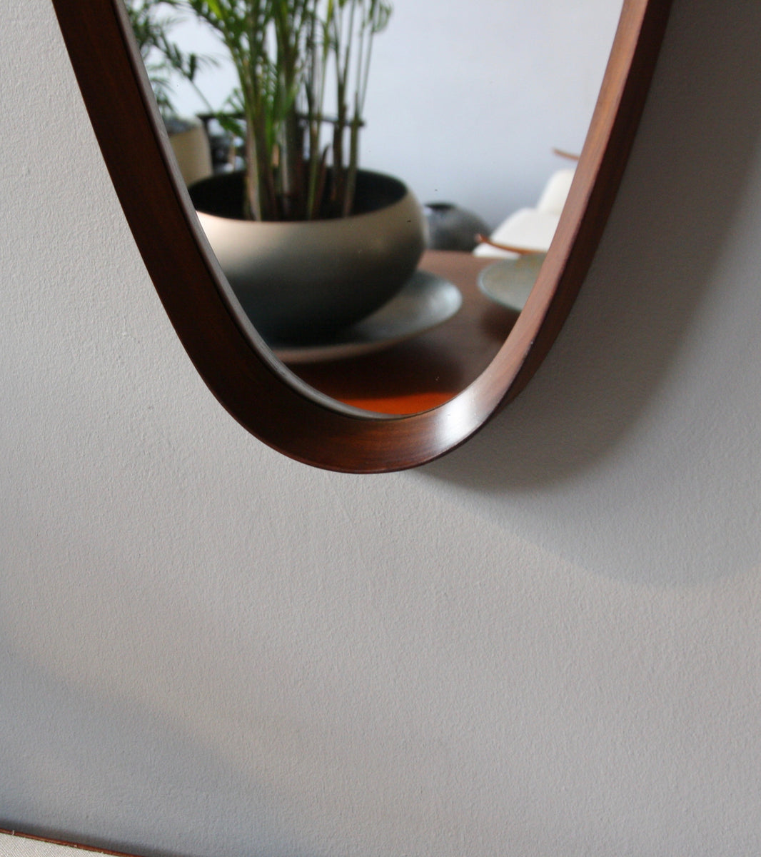 Soft Brown Teak Oval Mirror with Leather Strap Denmark C. 1950