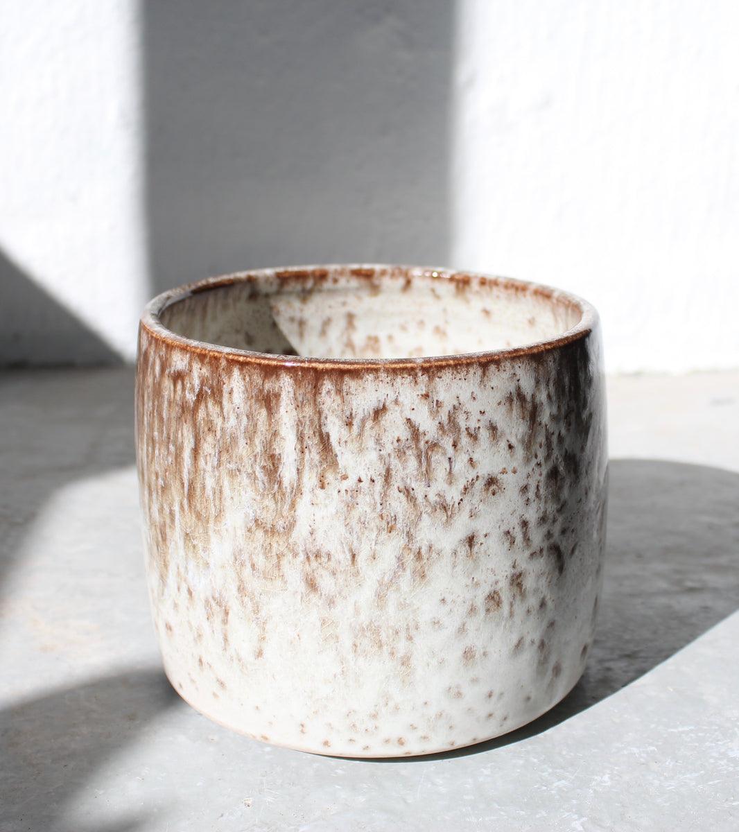'#93' Short Brush Pot Vase <br> White & Mauve Glaze