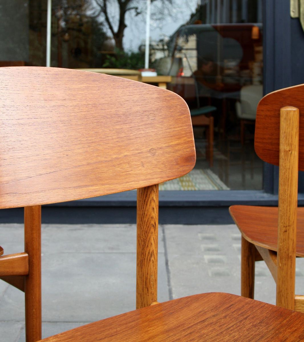 beautifully grained teak wood chairs