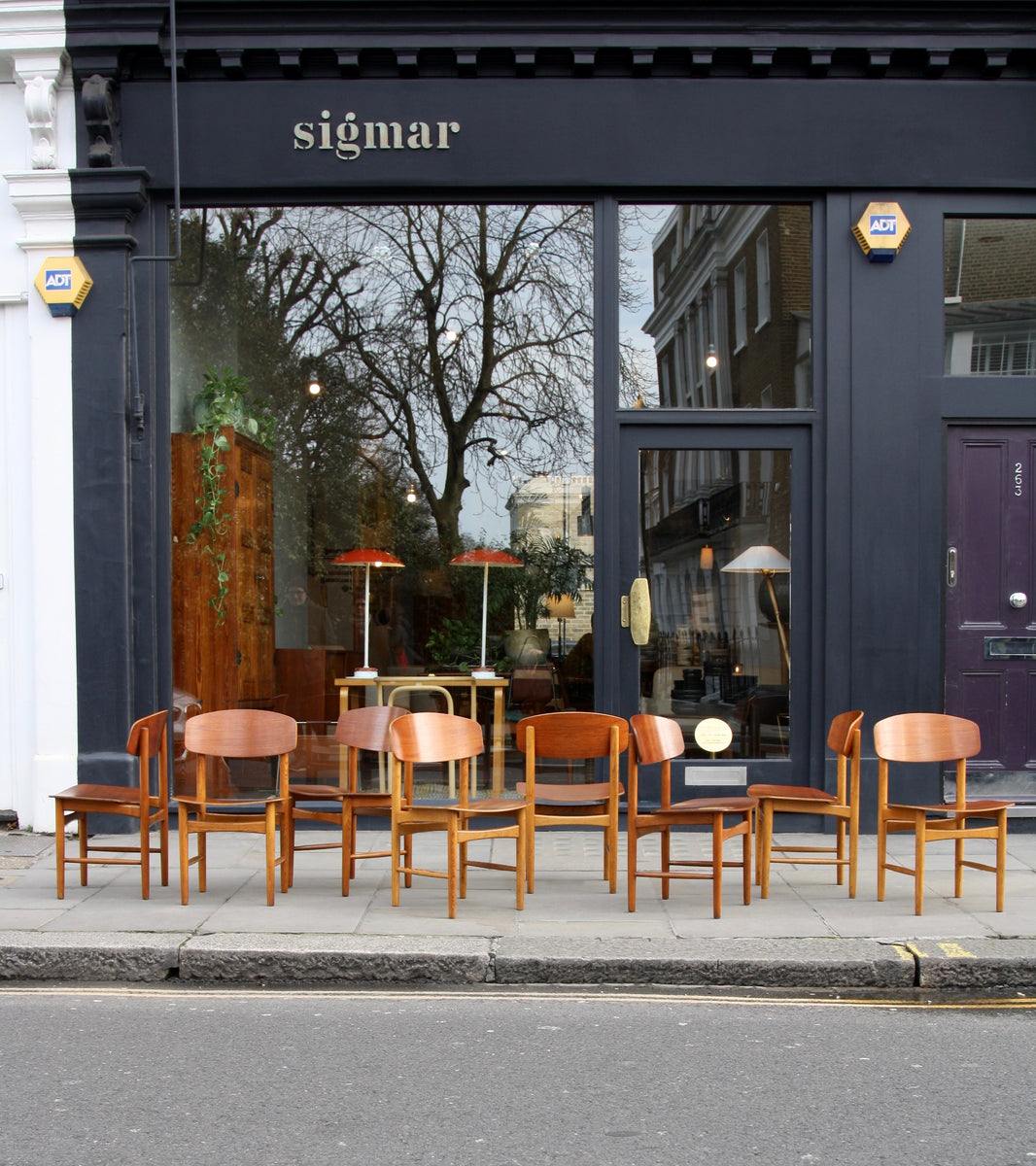 large set of eight dining chairs by borge mogensen