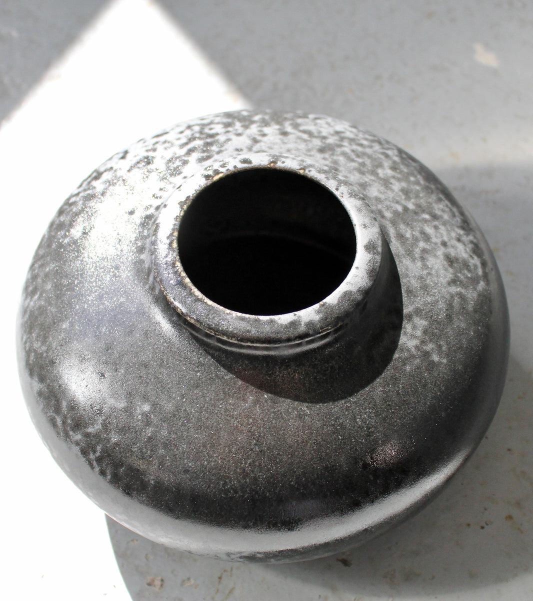 '#115' Short Necked Squat Onion Bottle <br> Black Glaze