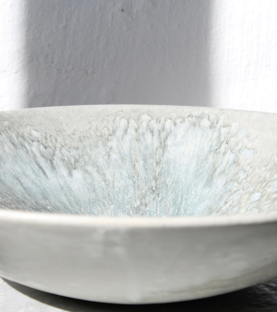 '#121' Large Medium Depp Charger <br> Aquatic Coloured Glaze
