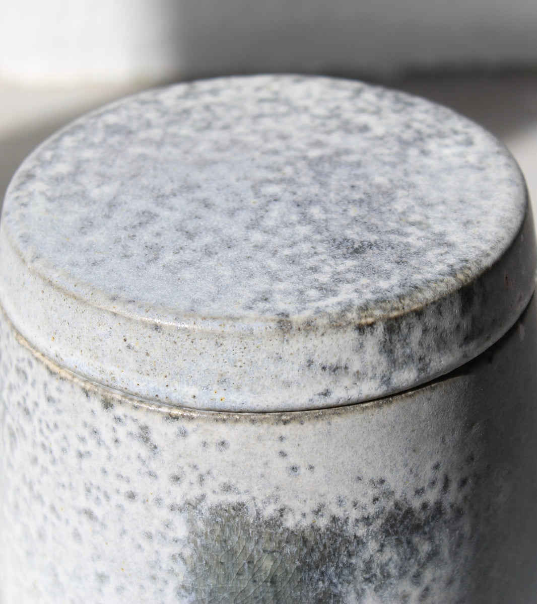 '#124' Large Lidded Jar <br> Silver Glaze