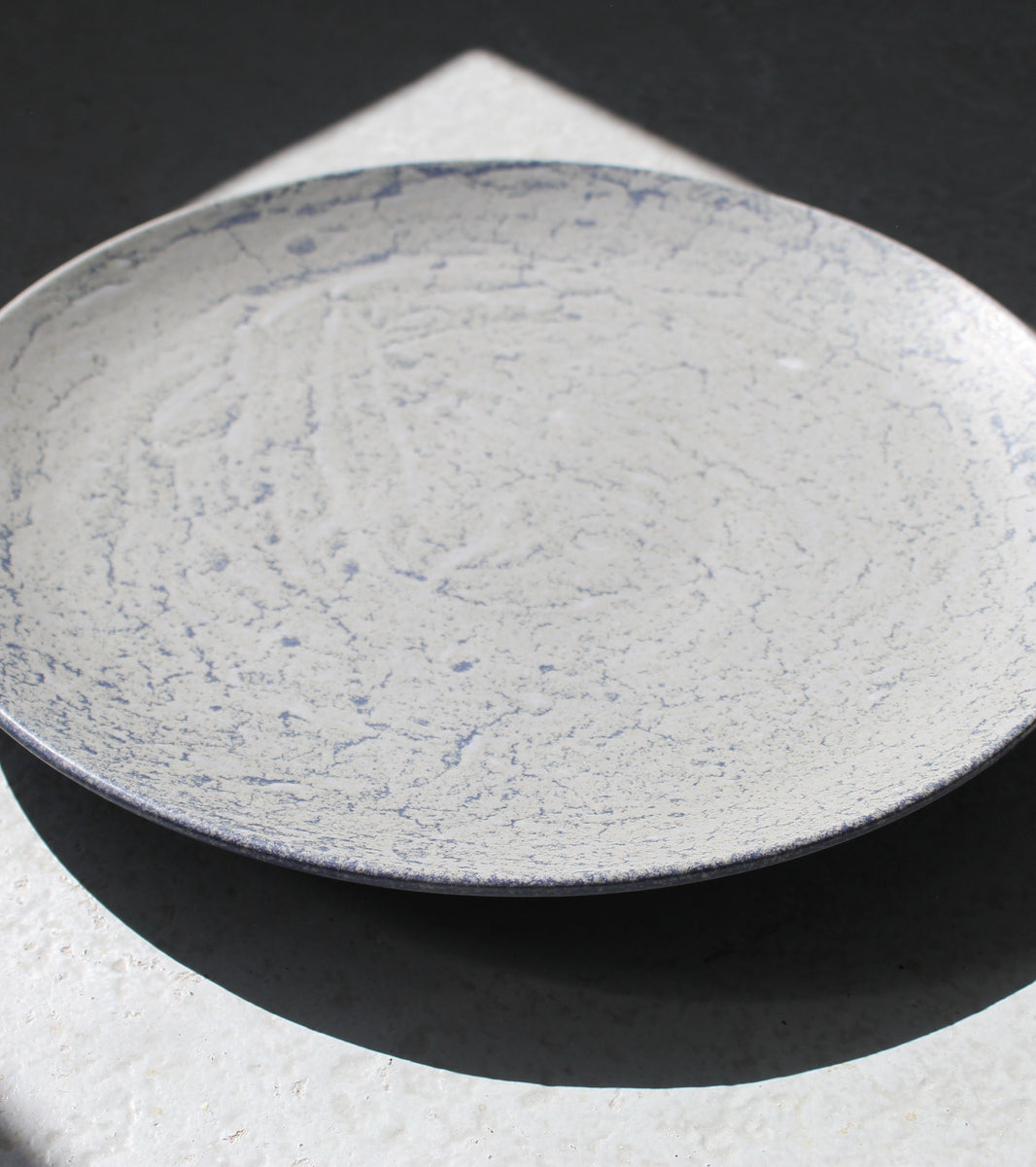 Giant Plate <br> Grey & Electric-Blue Glaze