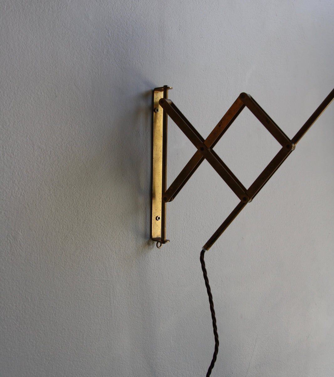 Concertina Brass Wall Light <br>Denmark, Circa 1950