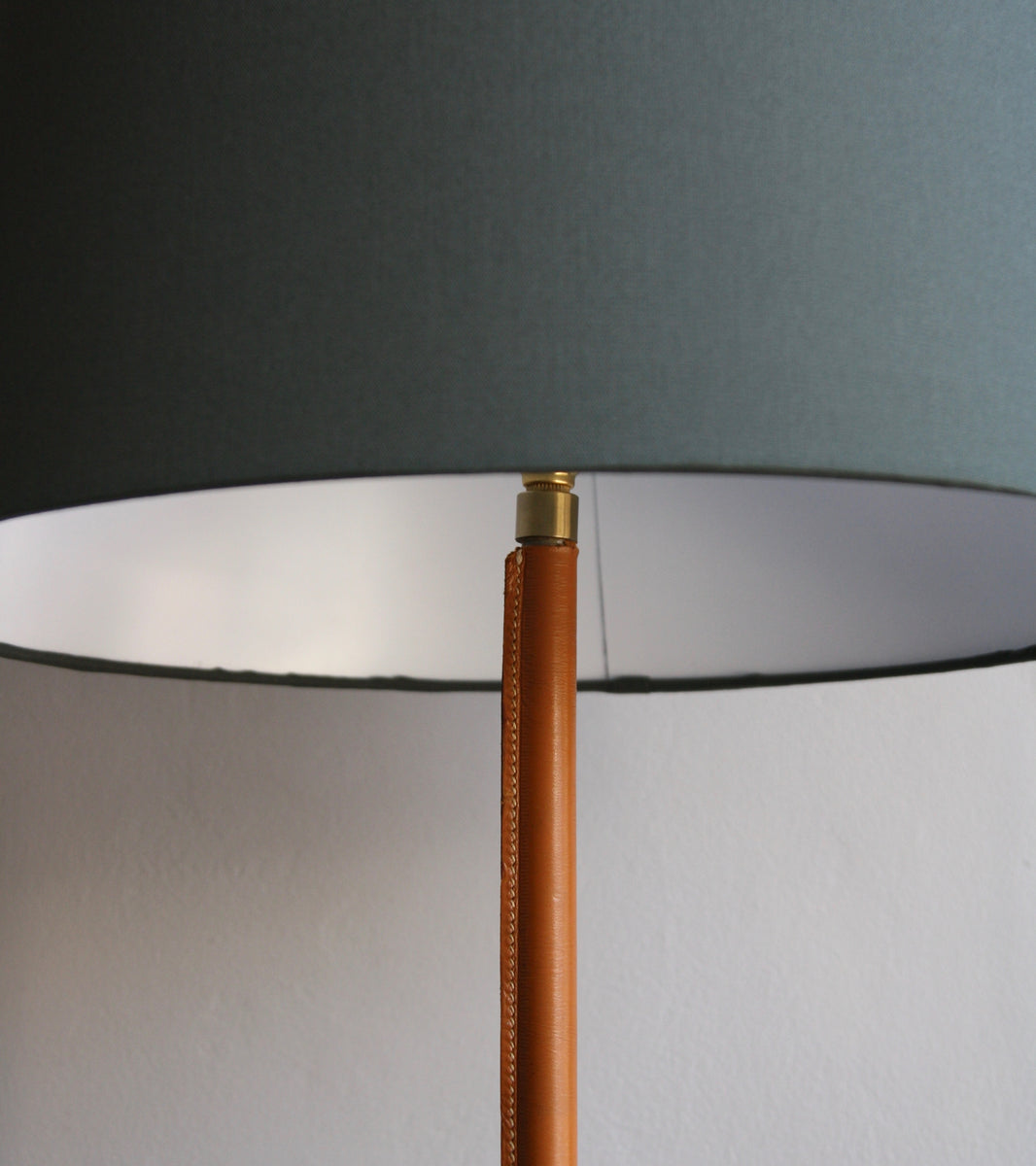 Brass & Tan Leather Floor Light, Denmark, Circa 1950