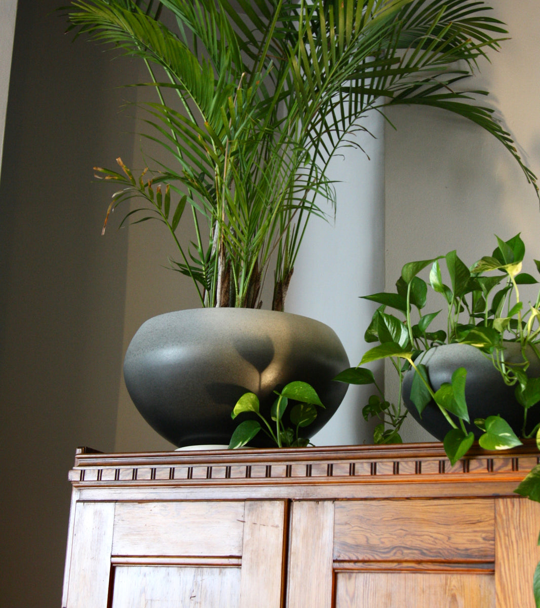 Large One Off Onion Shaped Planter <br>in Gradient Grey Glaze <br>by KH Würtz