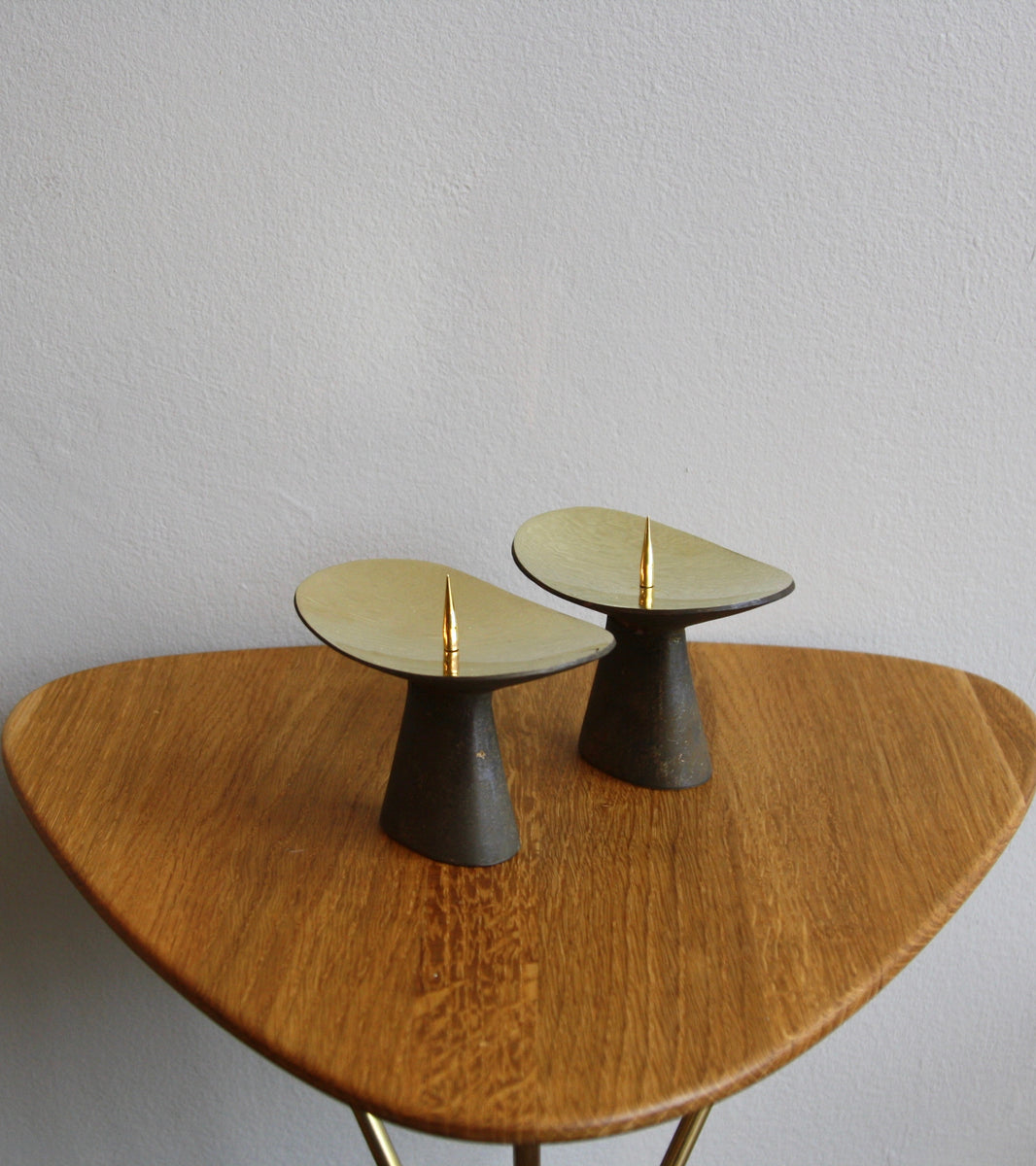 Patinated Brass <br> Candlesticks <br> by Carl Auböck