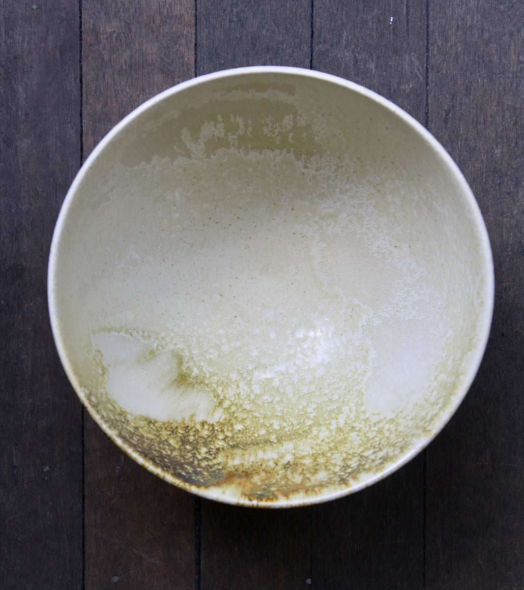 Large Deep Bowl <br> in White & Yellow Glaze<br> by KH Würtz <br> Shape #12