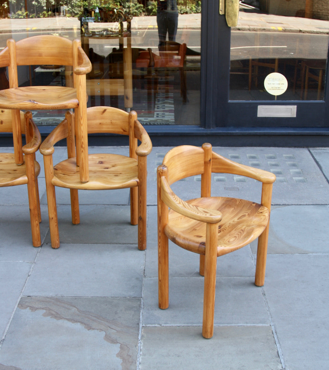 Set of Four Pine Carver Chairs by Rainer Daumiller