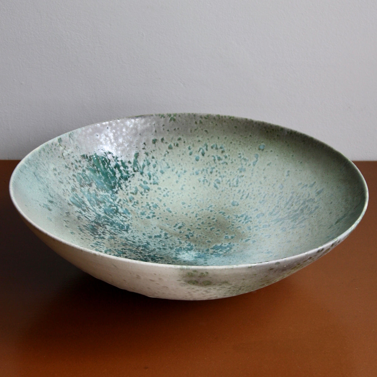 Massive Bowl / Turquoise, Green, Ombre, Grey Glaze