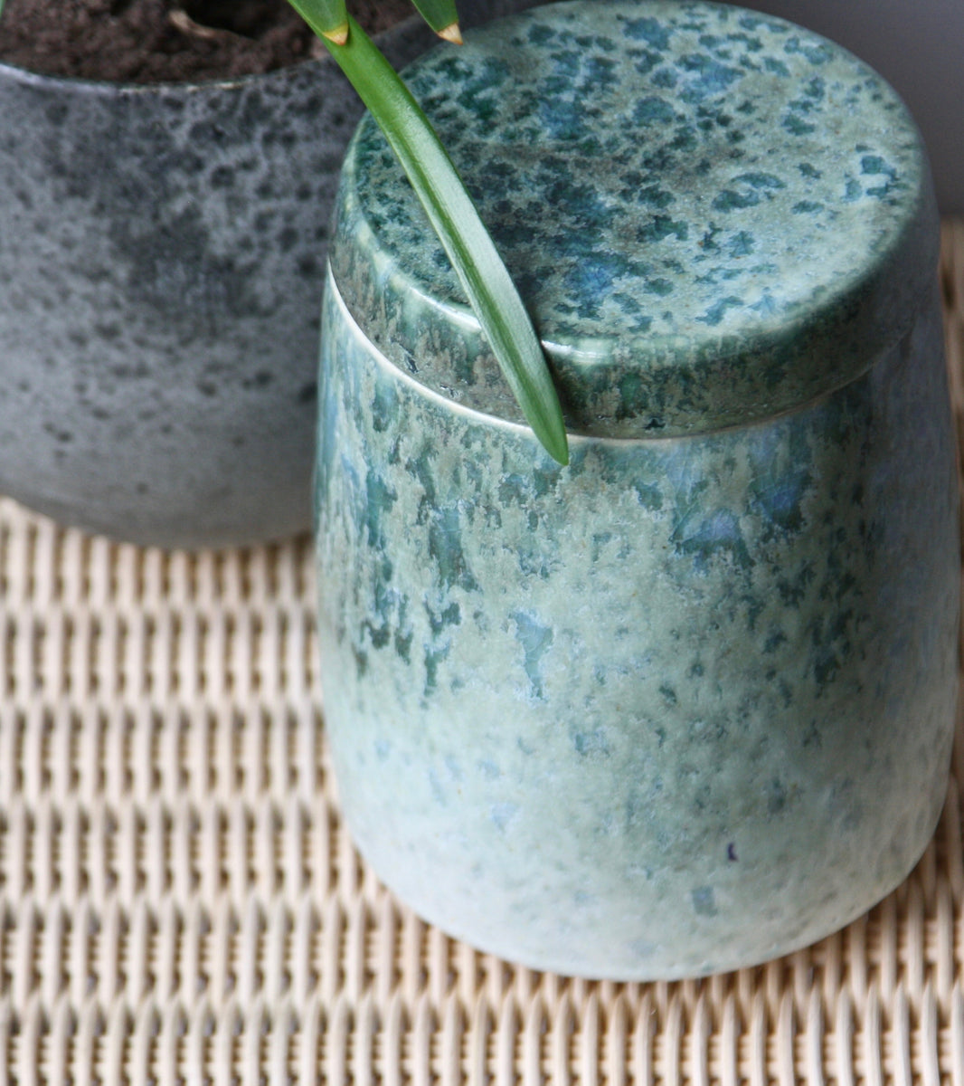 Medium Lidded Jar <br> White & Green glaze