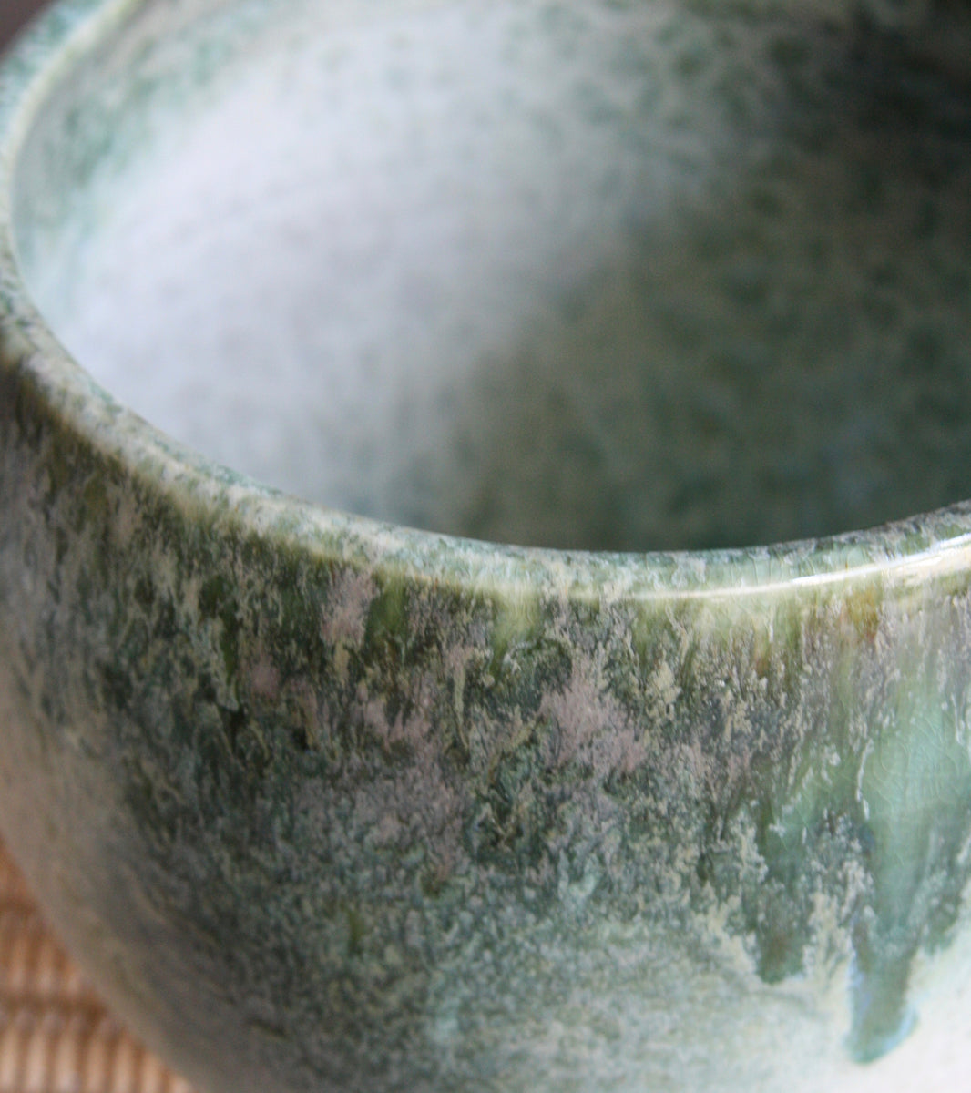 Medium Bell Shaped Planter <br> White & Green Glaze