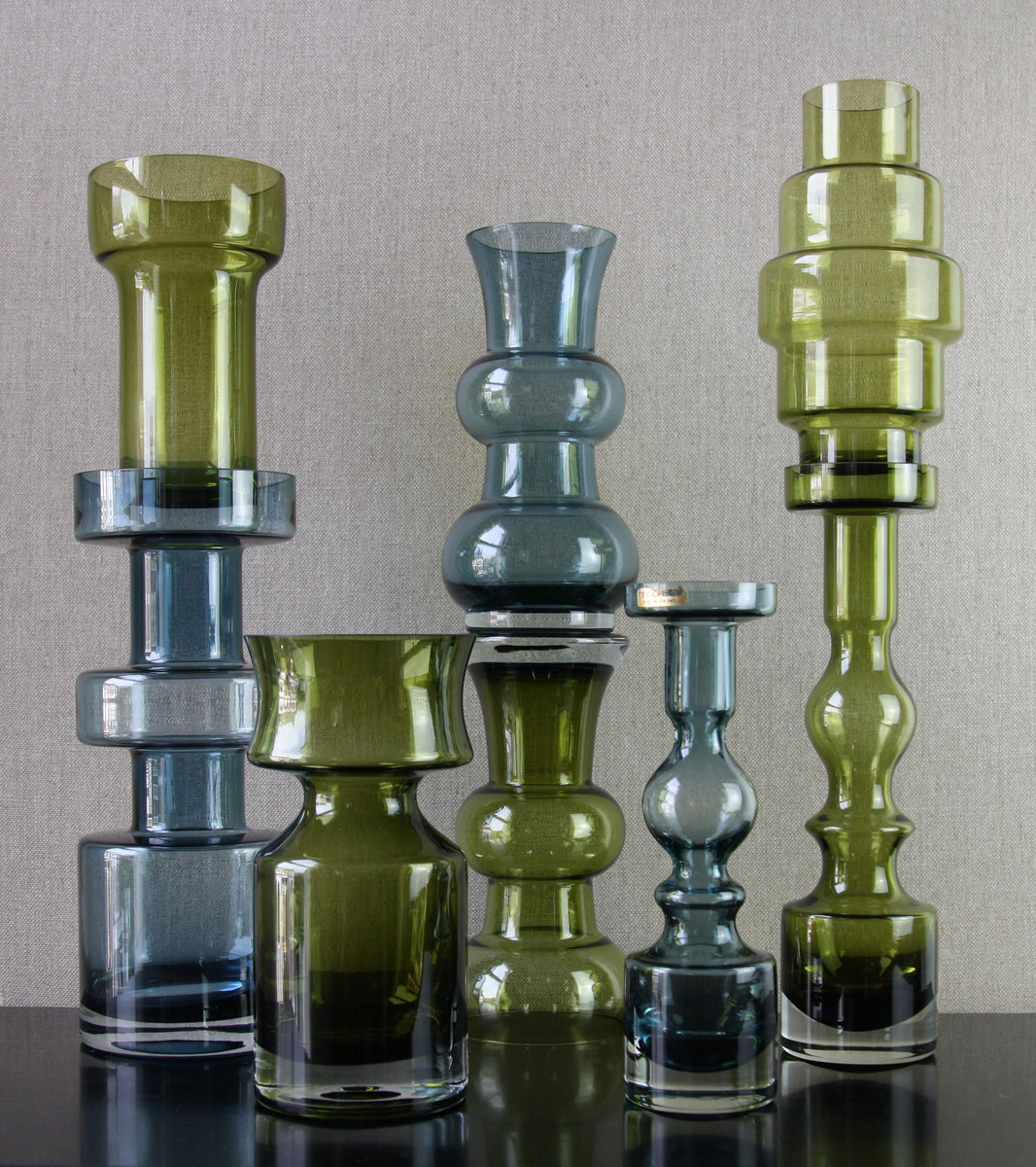 Large collection of olive green and steel blue riihimaki glass vases