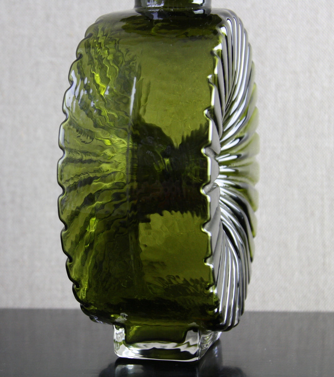 "Large Olive Green Model 1394 ""Aurinko"" (Sun) Bottle Vase Helena Tynell, 1964"