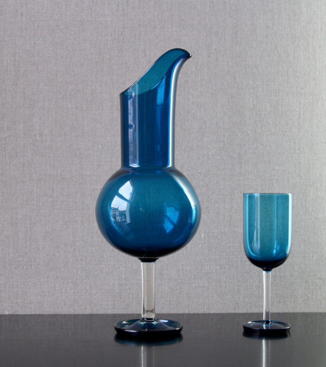 "Turquoise ""Harlekiini: Vinejug"" & 6 Glasses [Model 1744] by Nanny Still, 1958"