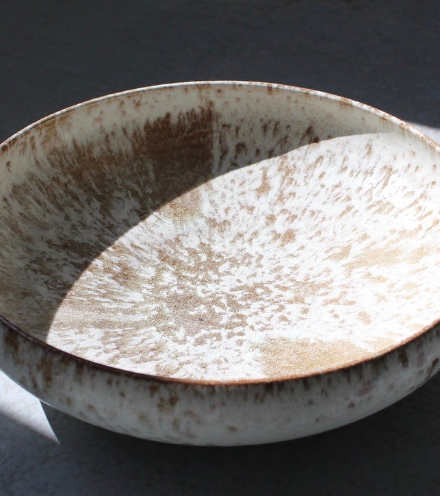 '#157' Massive Shallow Bowl <br> White & Mauve Glaze