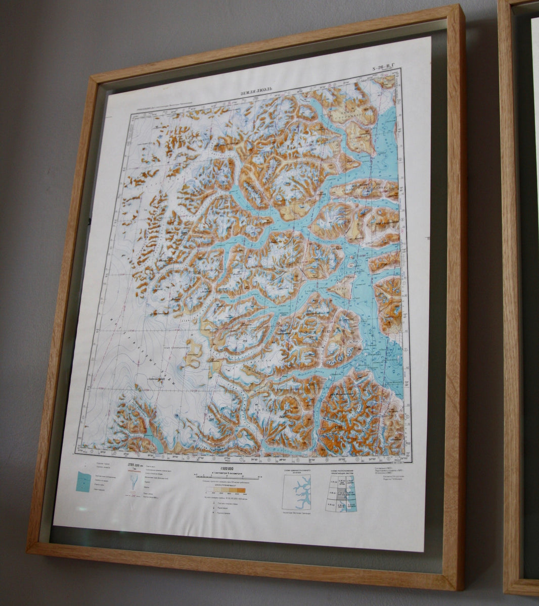 Scandinavian Beautifully Framed 1960s Soviet Maps of Greenland - Image 6