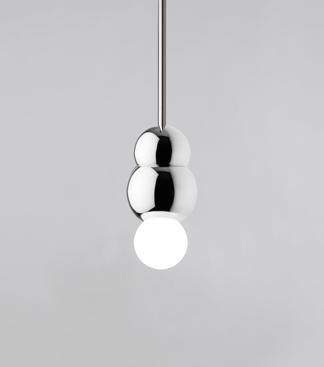 Glistening Ball Light Small Pendant Rod Polished Nickel Michael Anastassiades - Image 1
