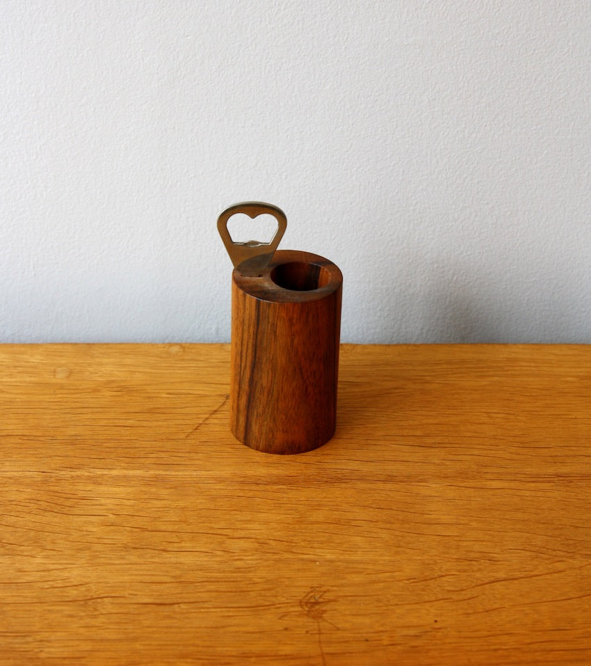 Solid Walnut Bottle Opener & Straw Holder Carl Auböck
