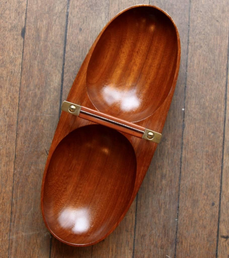 Soft Brown Double Bowl Boat  Carl Auböck - Image 5
