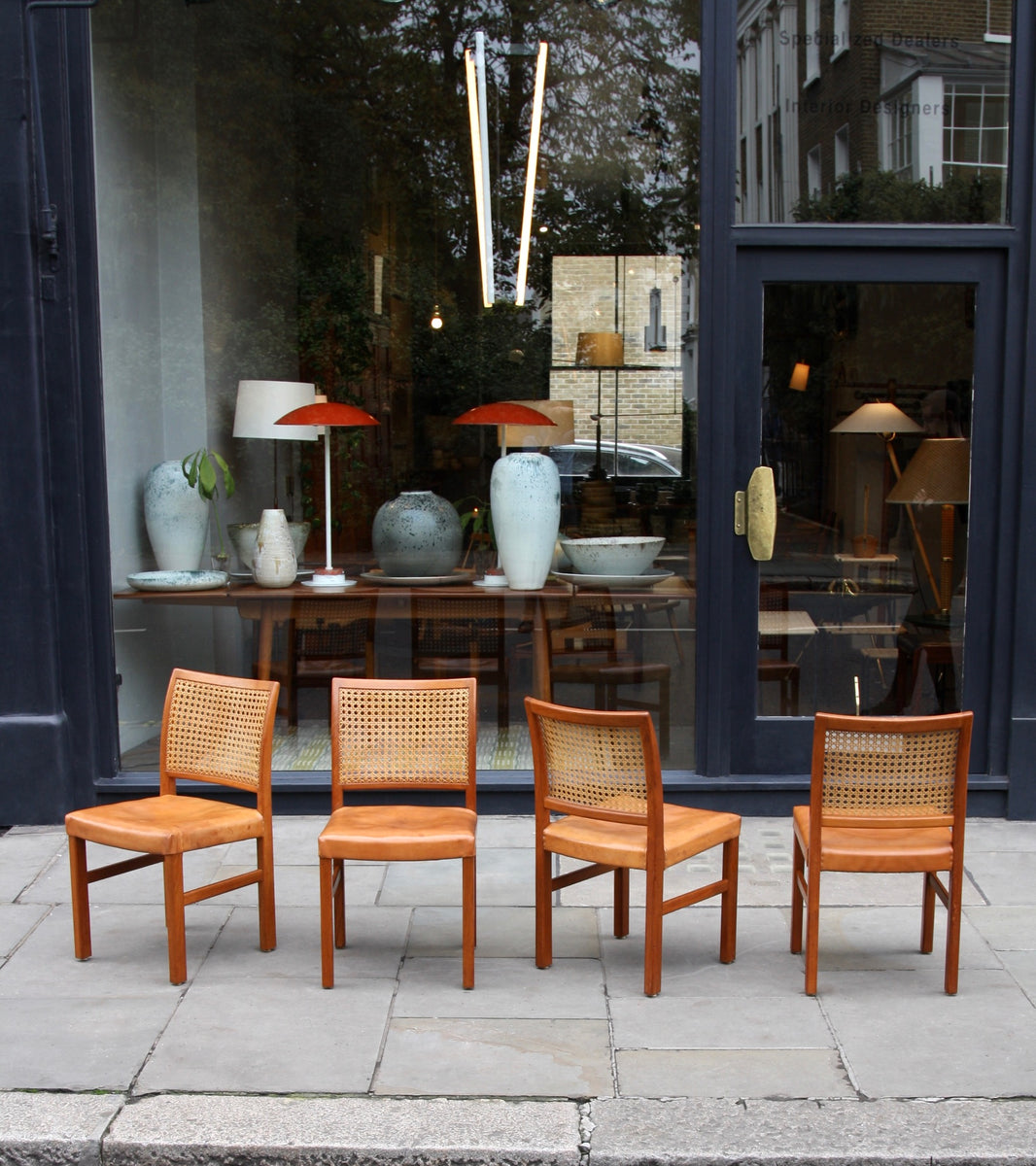Four Teak, Leather & Cane Chairs Carl-Gustav Hiort af Ornäs  - Image 1