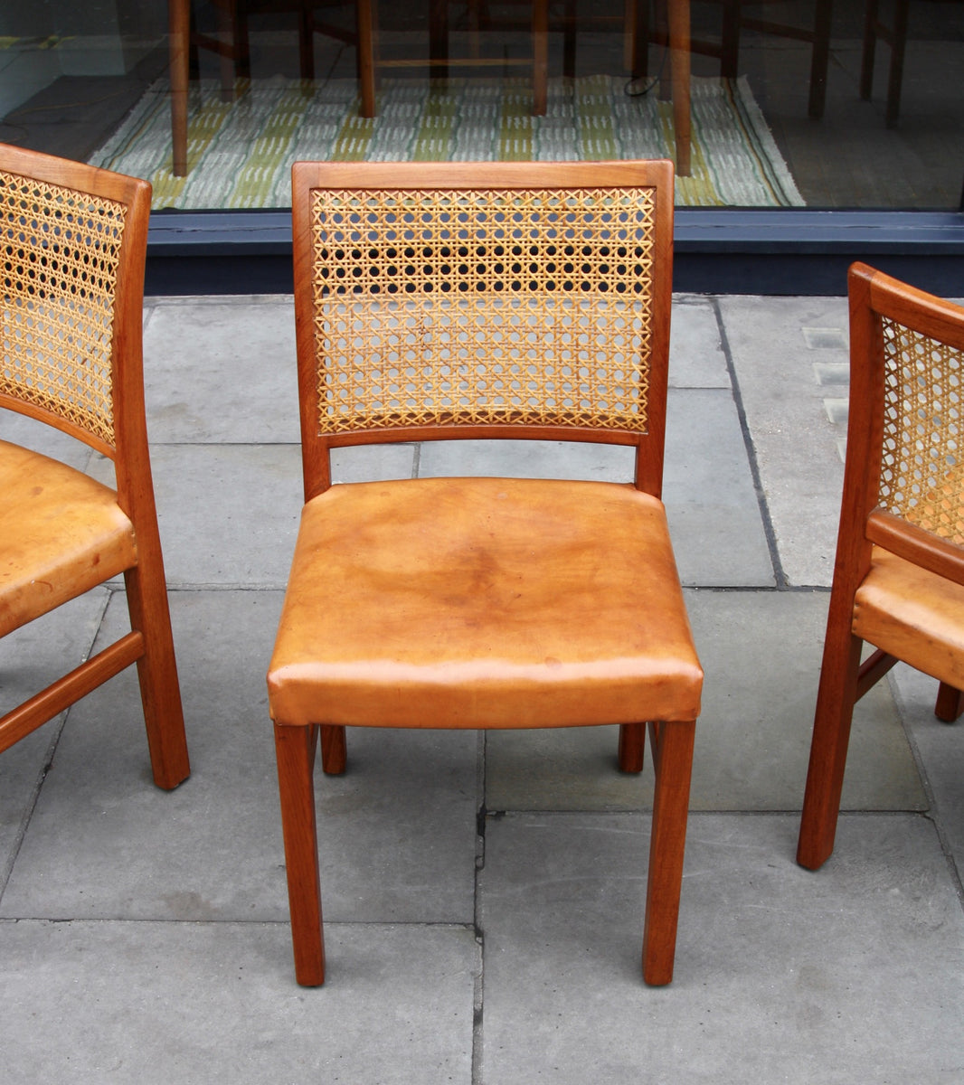 Four Teak, Leather & Cane Chairs Carl-Gustav Hiort af Ornäs  - Image 3