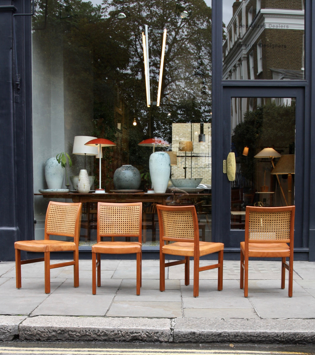 Four Teak, Leather & Cane Chairs Carl-Gustav Hiort af Ornäs  - Image 4