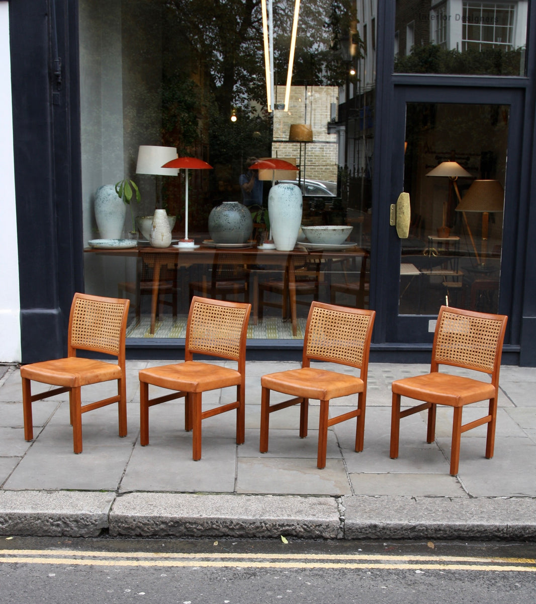Four Teak, Leather & Cane Chairs Carl-Gustav Hiort af Ornäs  - Image 5