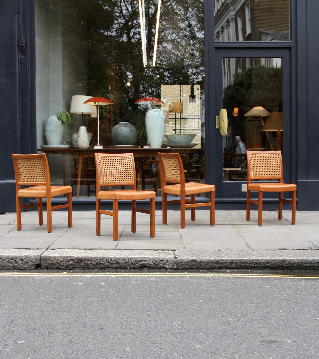 Four Teak, Leather & Cane Chairs Carl-Gustav Hiort af Ornäs  - Image 8