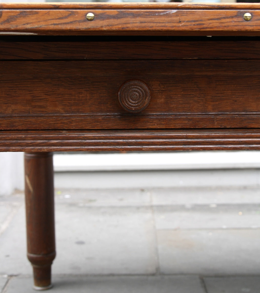 Large Oak Desk with Map Drawer Danish - Image 10