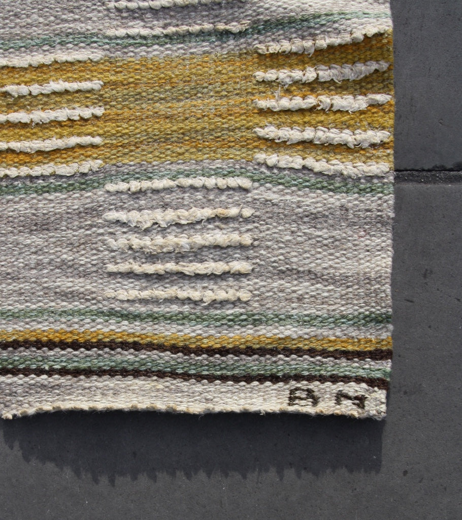 Medium Rug #2 Märta Måås-Fjetterström - Image 7 Babro Nilsson rug striped green yellow brown cream flatware