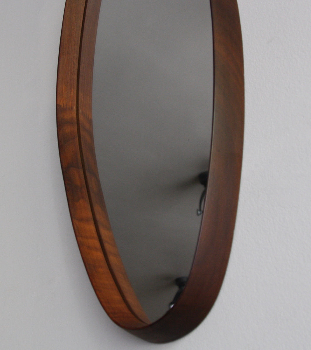 Original Danish, Oblong Teak Mirror with Chain (side view), C. 1950
