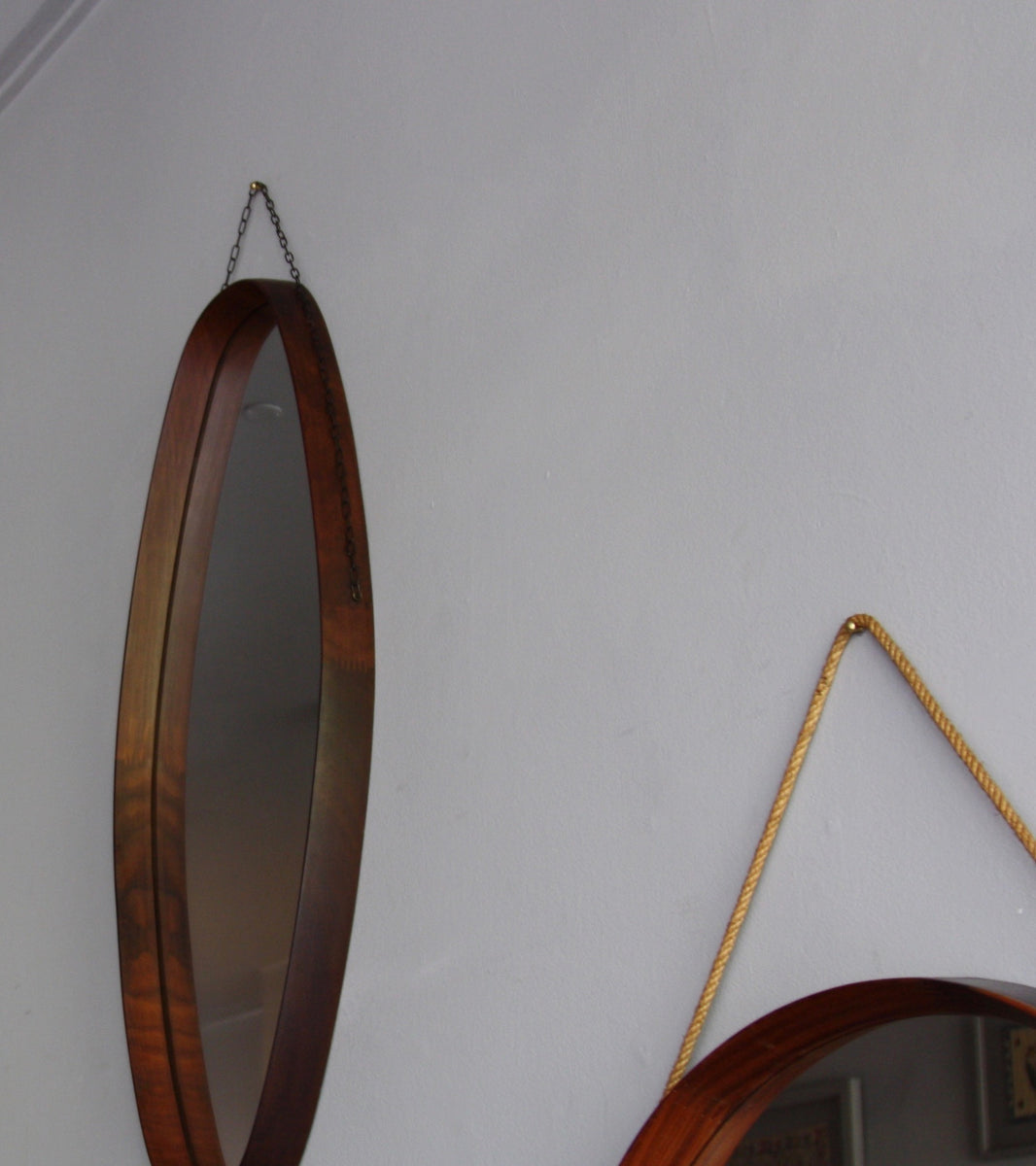 Side View of Oblong Firm Teak Mirror with Chain, Denmark, C. 1950